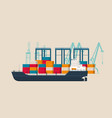 empty cargo ship in the container terminal vector image