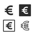 euro currency symbol set vector image vector image