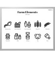 farm elements line pack vector image