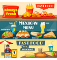 fast food restaurant menu flat banners vector image vector image