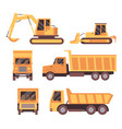flat yellow truck set isolated on white background vector image vector image