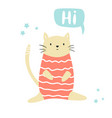 funny cat sitting in a swimming costume lettering vector image vector image