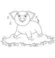 Funny piggy standing on water puddle coloring vector image vector image