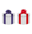 gift box with ribbon and bow in violet and red vector image vector image