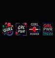 girls power is collection slogans print embroidery vector image