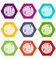 globe icon set color hexahedron vector image