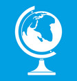 globe icon white vector image vector image