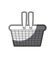 grayscale silhouette of shopping basket vector image vector image