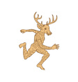 Half Man Half Deer With Tattoos Running vector image
