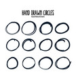 hand drawn circle lines sketch frames set vector image