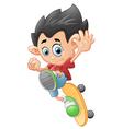 Happy Cartoon Skateboard Boy vector image vector image
