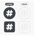 Hashtag sign icon Social media symbol vector image vector image