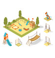 isometric playground concept for outdoor family vector image