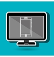 laptop with smartphone blue isolated icon design vector image