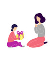 little daughter giving gift to mother vector image vector image