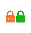 lock unlock icon with password orange and green vector image vector image