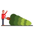 man chopped down a new year tree vector image vector image