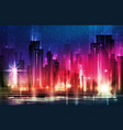 night city with road and illuminated buildings vector image