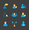 people flat icons set on black