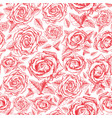 red roses contour seamless pattern flowers vector image