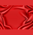 red silk draped fabric background textile frame vector image vector image