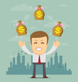 rich man character hold bags full of money vector image vector image