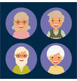 round avatars of older women and men people vector image