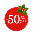 sale banner with holly berry vector image vector image