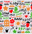 seamless kids pattern with words and inscriptions vector image