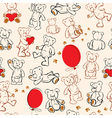 Seamless texture with teddy bears hearts vector image vector image