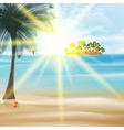 Seaside view poster with palm trees vector image