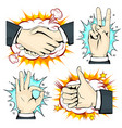 set hand on the background of explosion and star vector image vector image