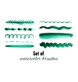 Set of green watercolor hand drawn brushes vector image vector image