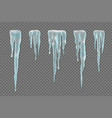 set of realistic borders with snow icicles on vector image vector image