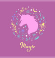silhouette of unicorn in the flower rustic vector image vector image