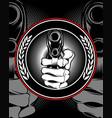 skull hand holding a gun vector image vector image