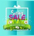 spring sale banner on blue paper vector image vector image
