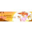 summer poster with silhouette woman at sunset vector image
