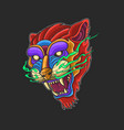 tiger head wild and beast colorful vector image vector image