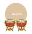 timpani in hand-drawn style vector image