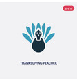 Two color thanksgiving peacock icon from united