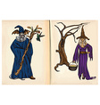 Witch and Wizard - hand drawings vector image