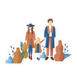 young family walking in park autumn vector image vector image