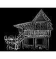 Wooden house sketch vector image