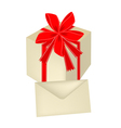 A Gift Box with Red Ribbon and Card vector image