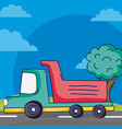 cargo truck on street vector image vector image