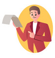 cartoon man holding documents on white background vector image vector image