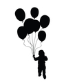 child holding balloons silhouette in black vector image vector image
