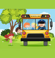 children and bus driver on school bus vector image