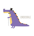 crocodile in tall hat and bowtie with small cane vector image